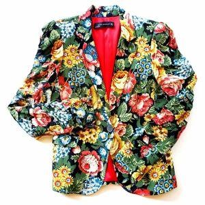 ZARA Woman Bright Floral Blazer Size Small